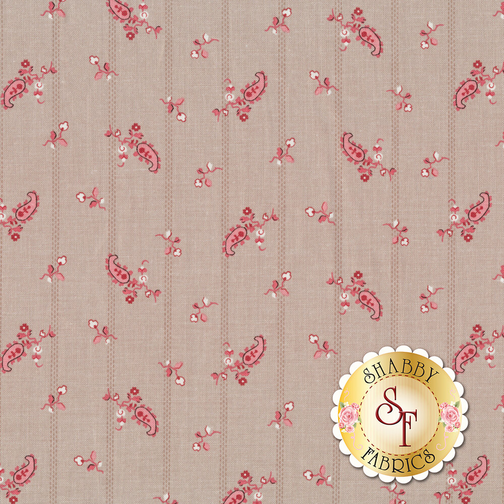 A beautiful striped print with red flowers on a taupe background | Shabby Fabrics