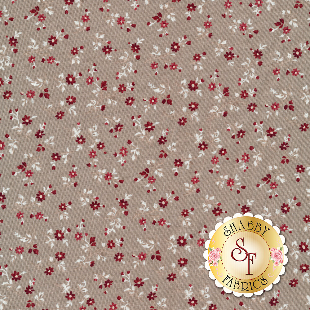 Fabric with flower bunches on a taupe background   Shabby Fabrics