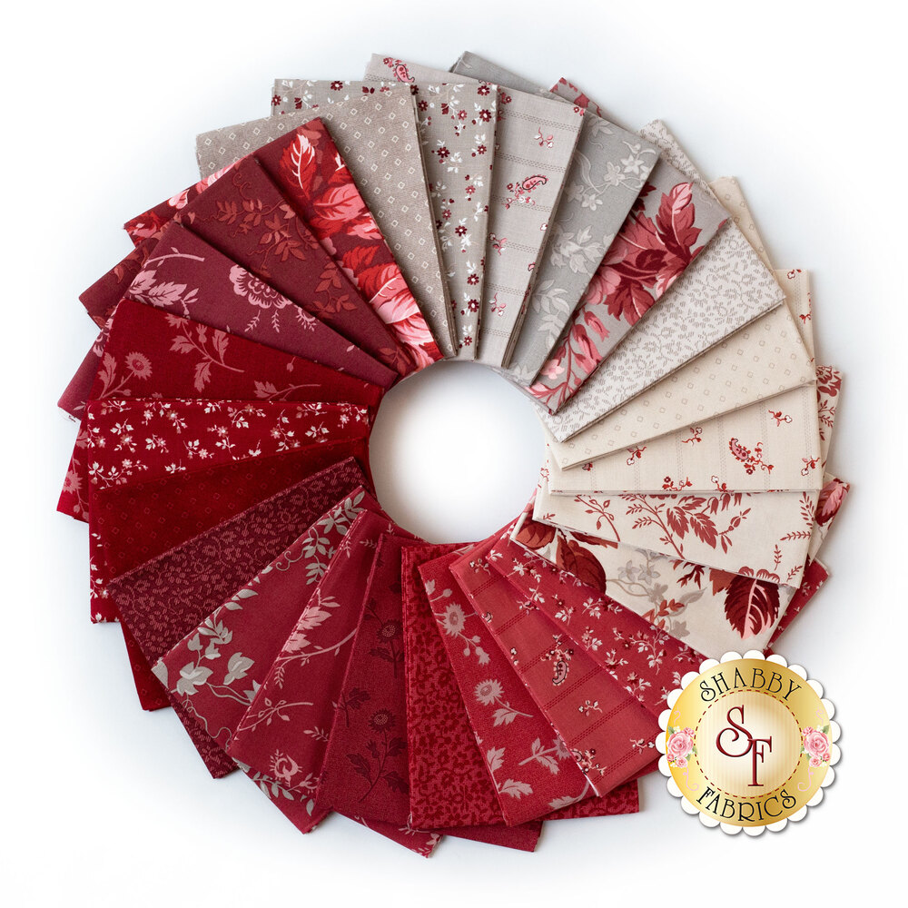 Collage of fabrics included in Red Elegance FQ Bundle | Shabby Fabrics