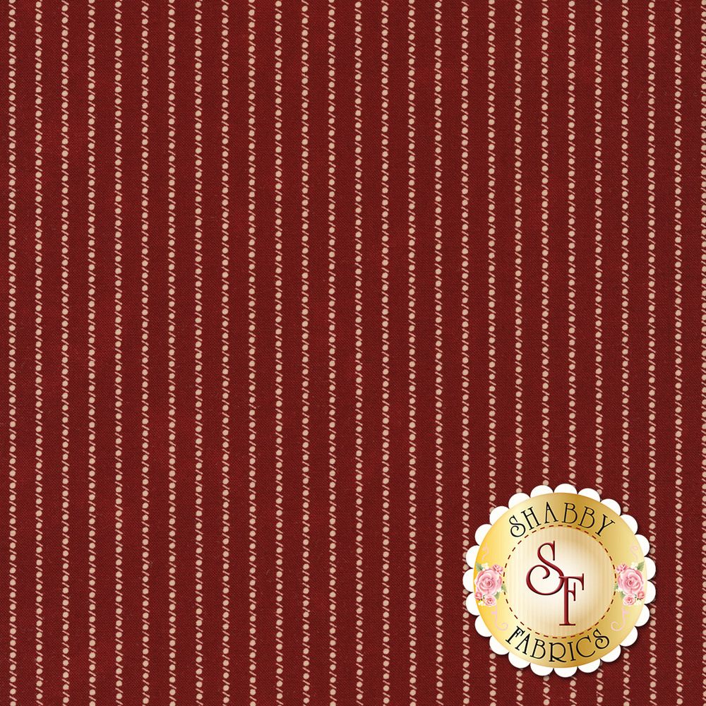 Cream dotted stripe on a red background | Shabby Fabrics