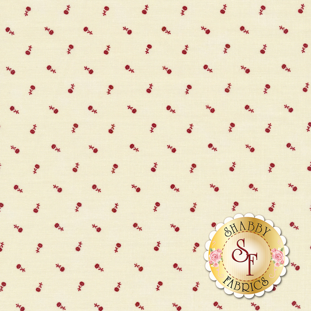 Red tossed floral on a cream background | Shabby Fabrics