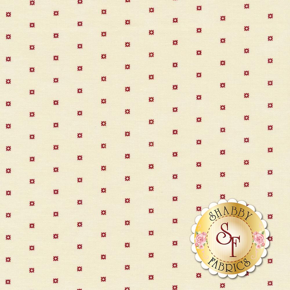 Red ditsy diamonds on a cream background | Shabby Fabrics