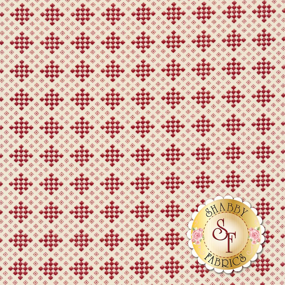Red checker print on a cream background | Shabby Fabrics