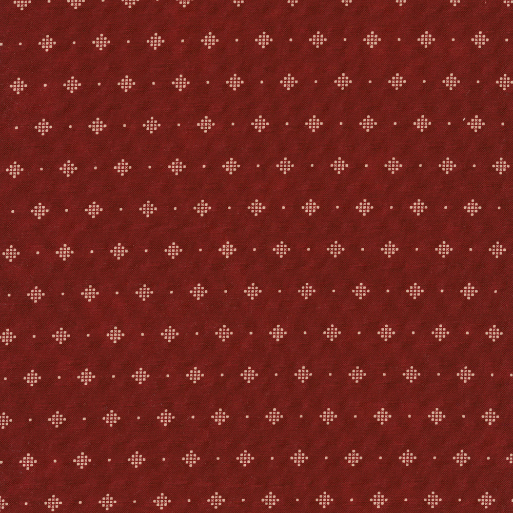 Cream dotted diamonds on a red background | Shabby Fabrics