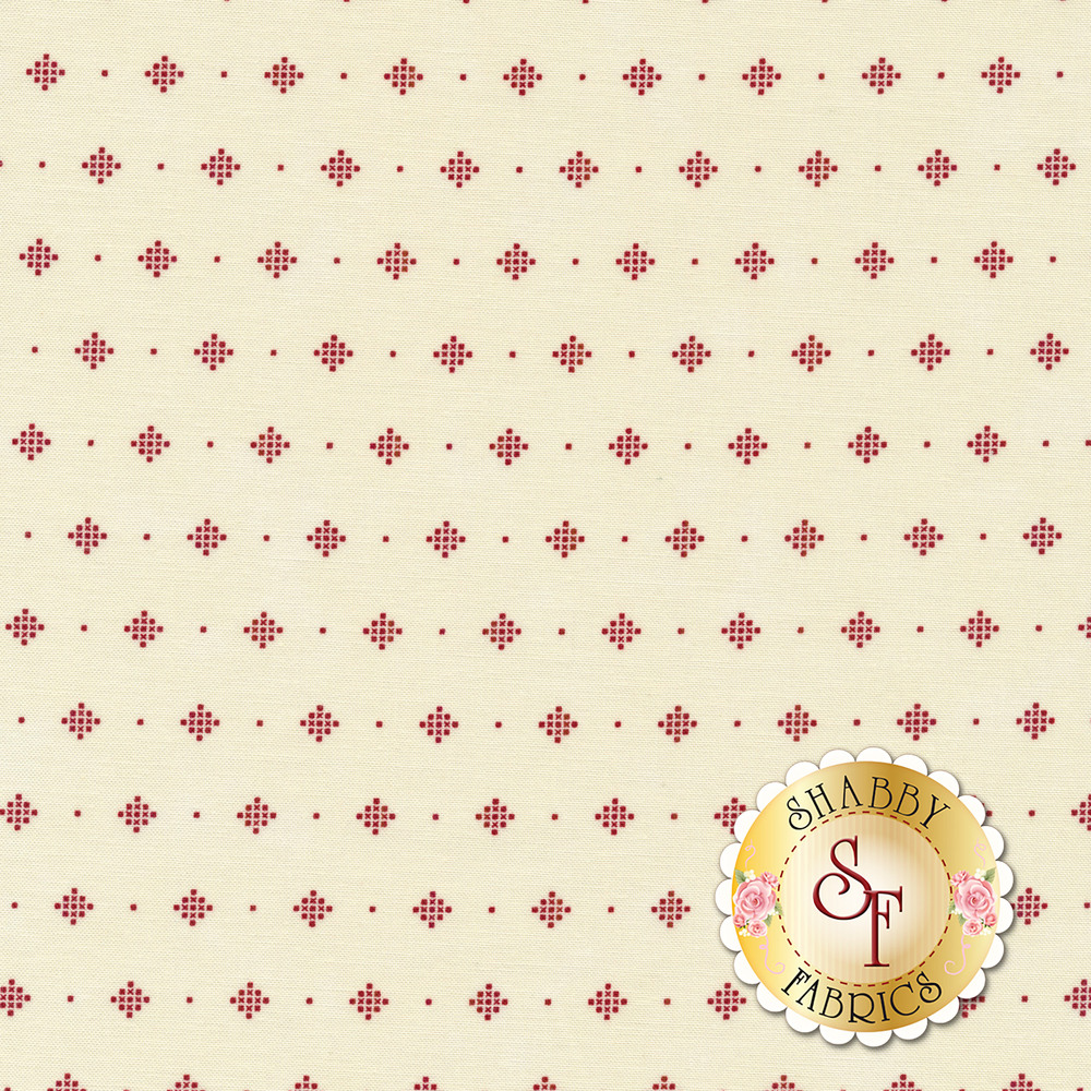 Red dotted diamonds on a cream background | Shabby Fabrics