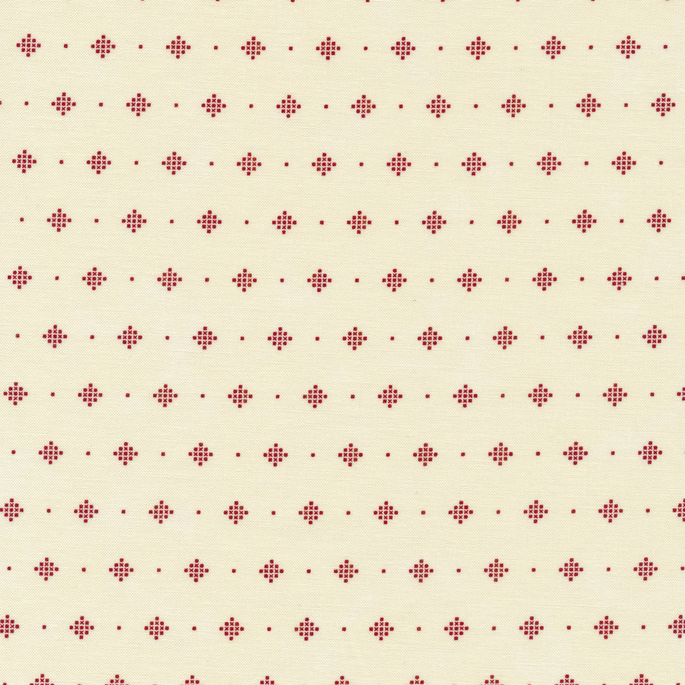 Red dotted diamonds on a cream background   Shabby Fabrics