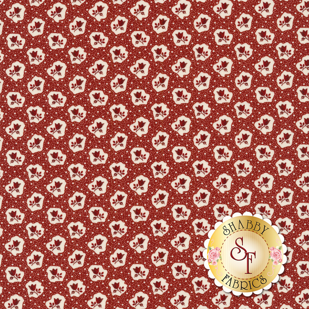 Red flowers and white dots on a red background | Shabby Fabrics