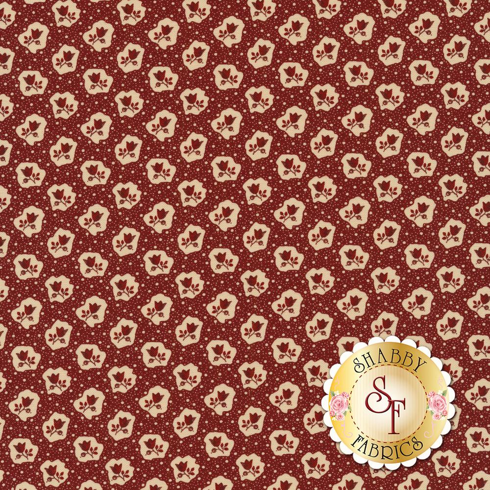 Red flowers and tan dots on a dark red background | Shabby Fabrics