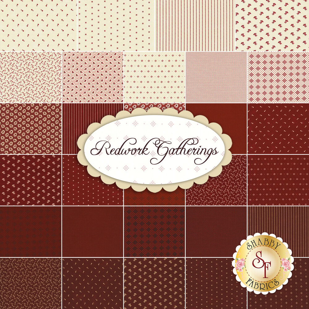 Collage of fabrics included in the Redwork Gatherings collection | Shabby Fabrics