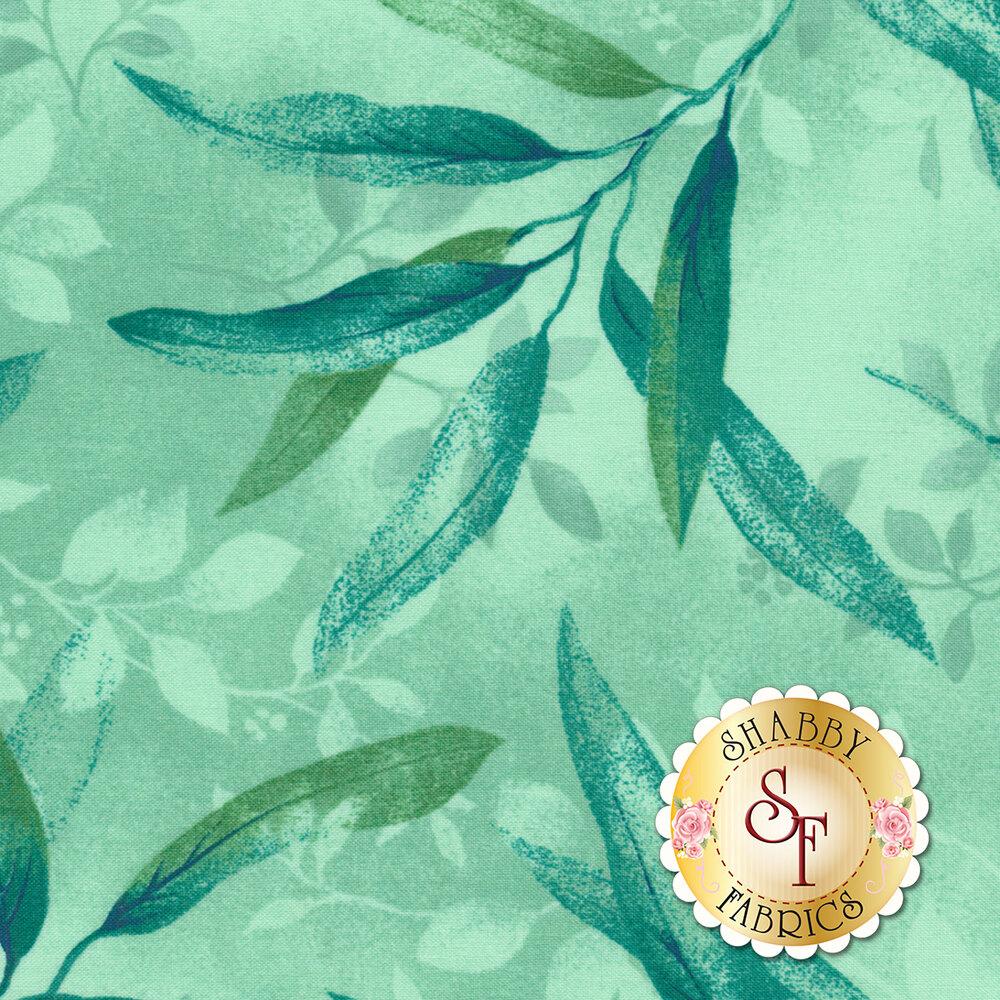 Rejuvenation 90304-Q Teal Gentle Leaves