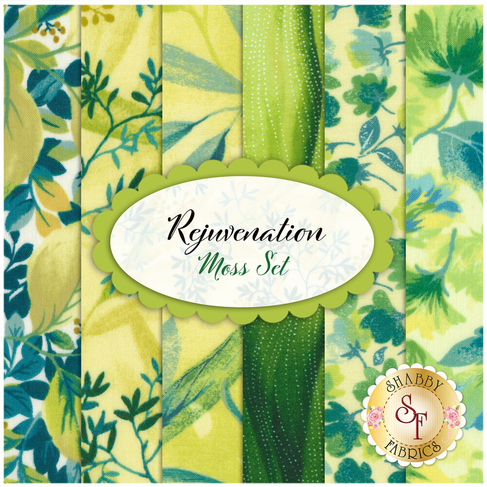 Rejuvenation 6 FQ Set - Moss Set Available at Shabby Fabrics