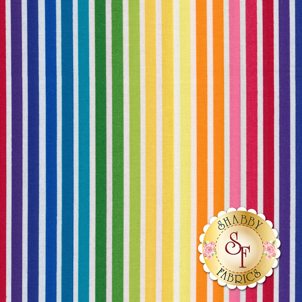 Rainbow stripes on a white background | Shabby Fabrics