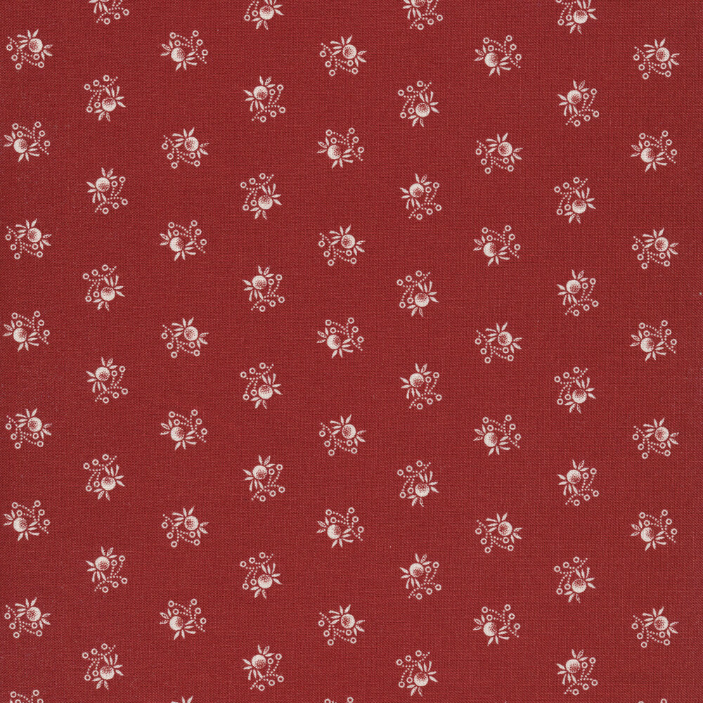 Fruit and leaf ditsy print on red