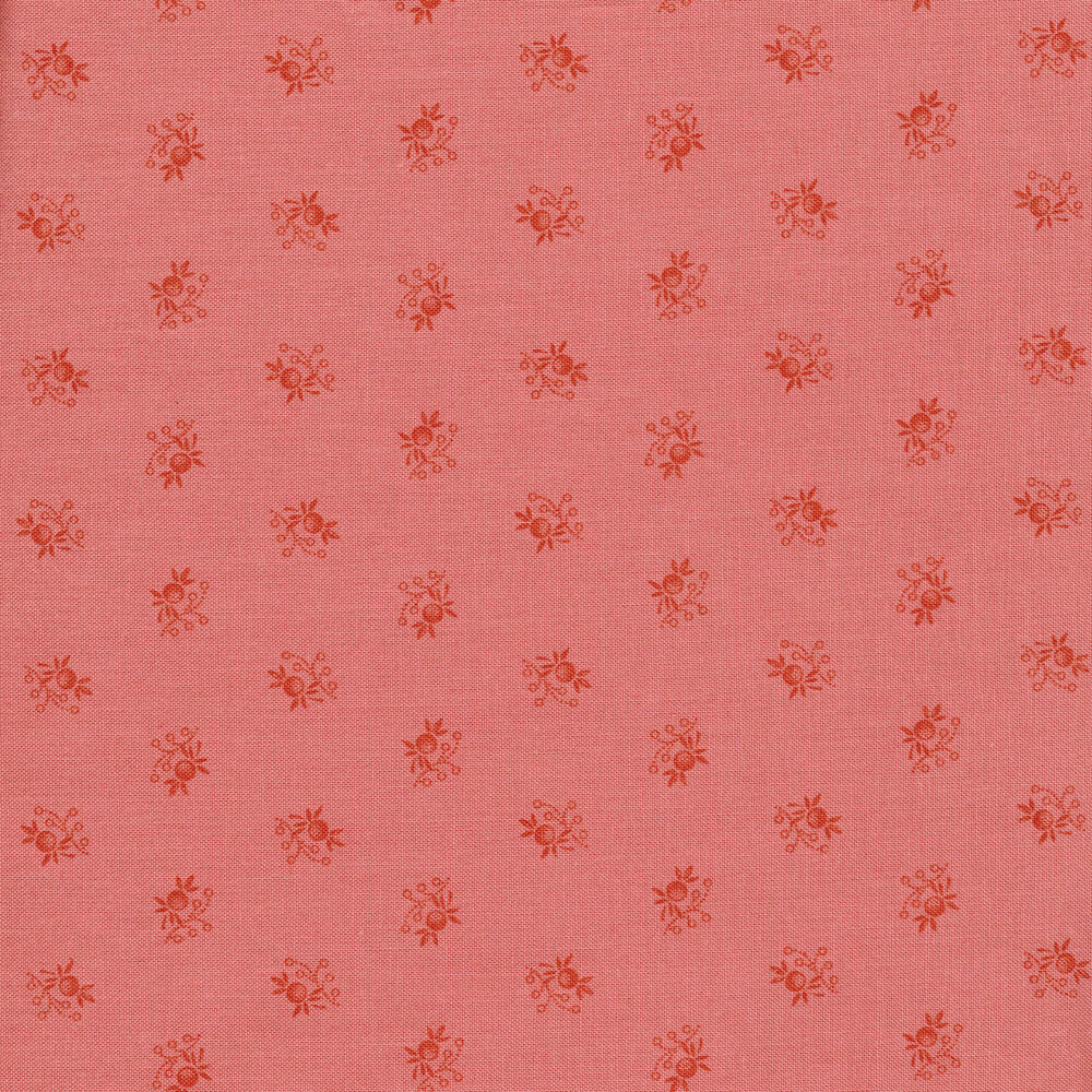 Tonal fruit and leaf ditsy print on pink