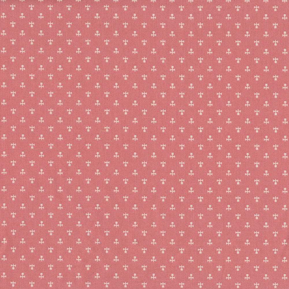 White flower ditsy print on pink