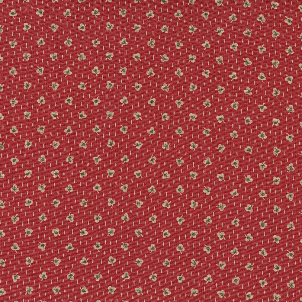 Clover ditsy print on red