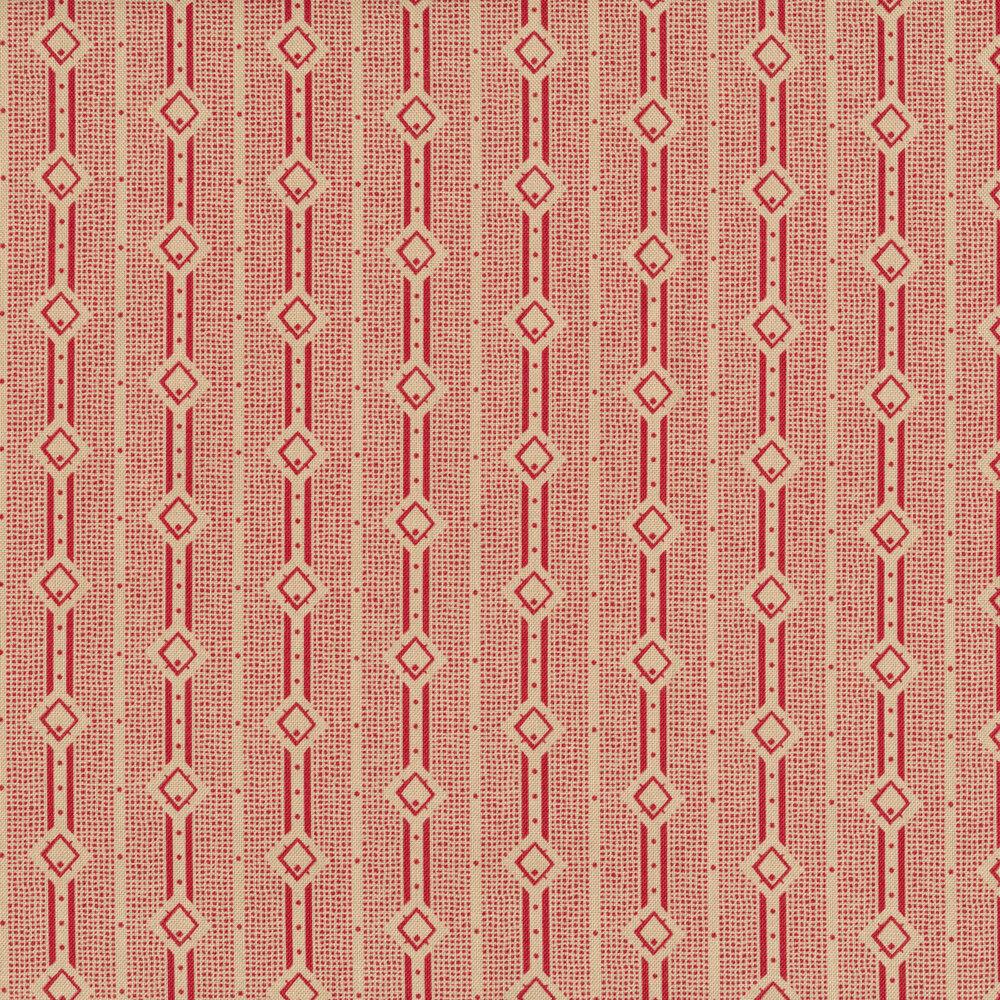 Tan stripes with red diamond designs