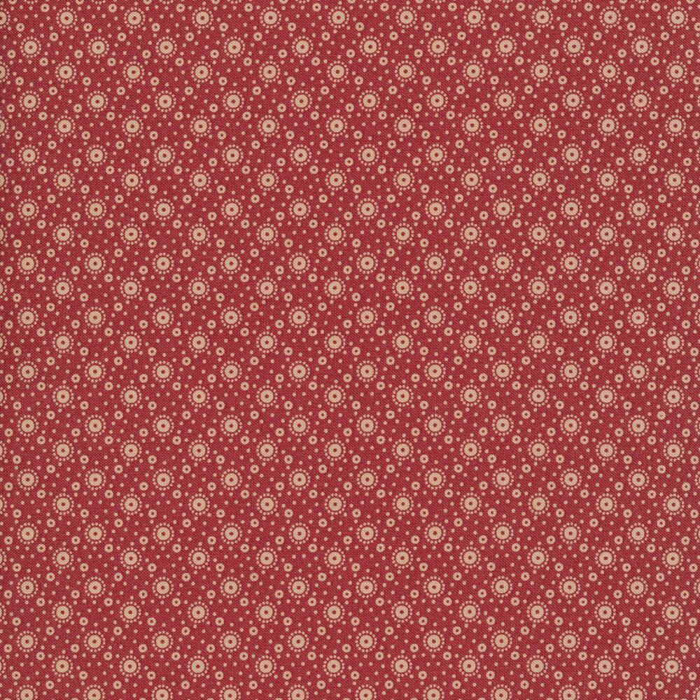 Tan dot designs on red