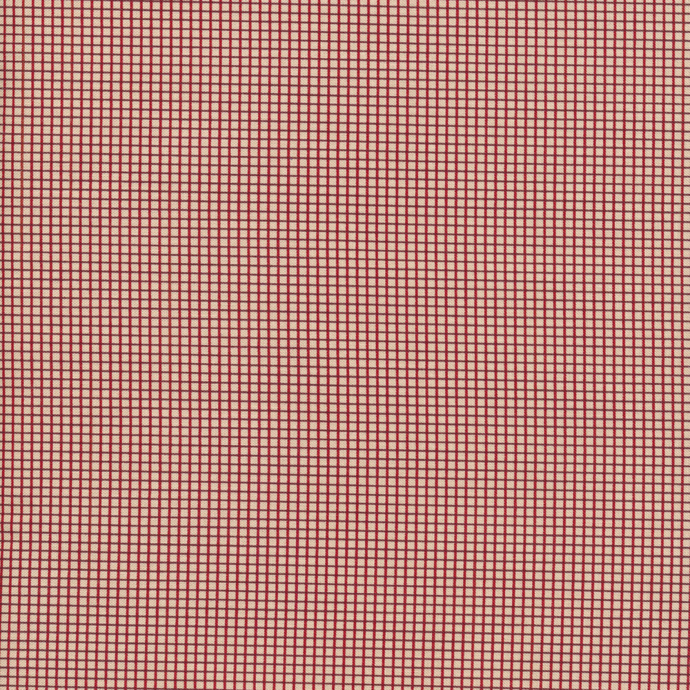 Red crosshatch grid on a cream background