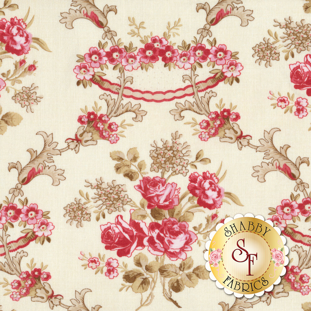 Pink floral damask design with brown all over cream   Shabby Fabrics
