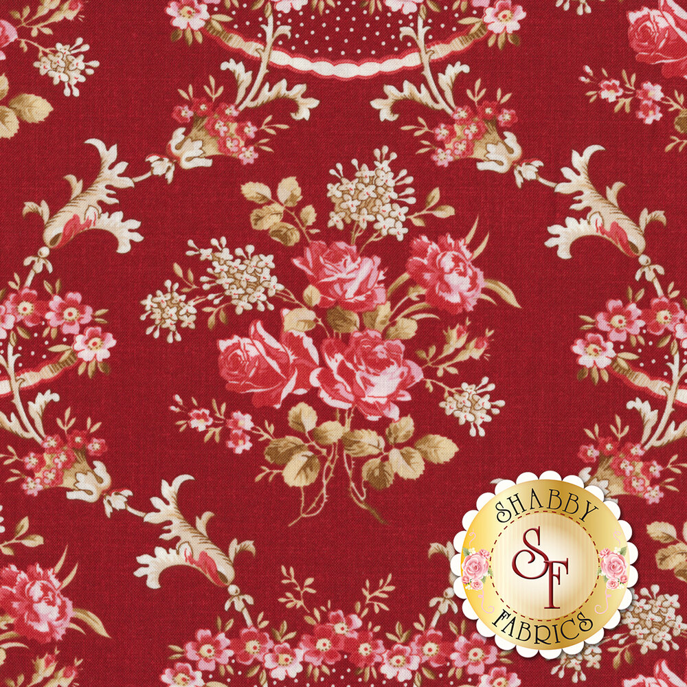 Pink floral damask design with brown all over red | Shabby Fabrics