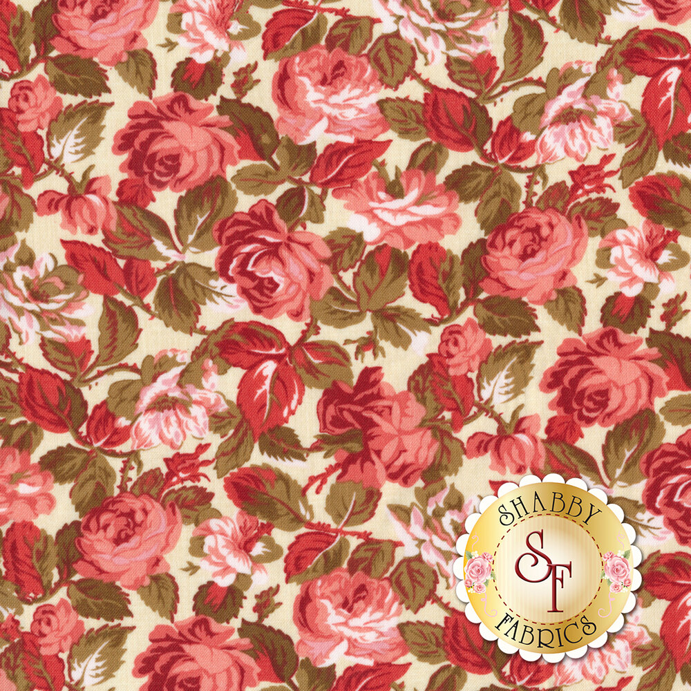 Red and pink roses all over cream | Shabby Fabrics