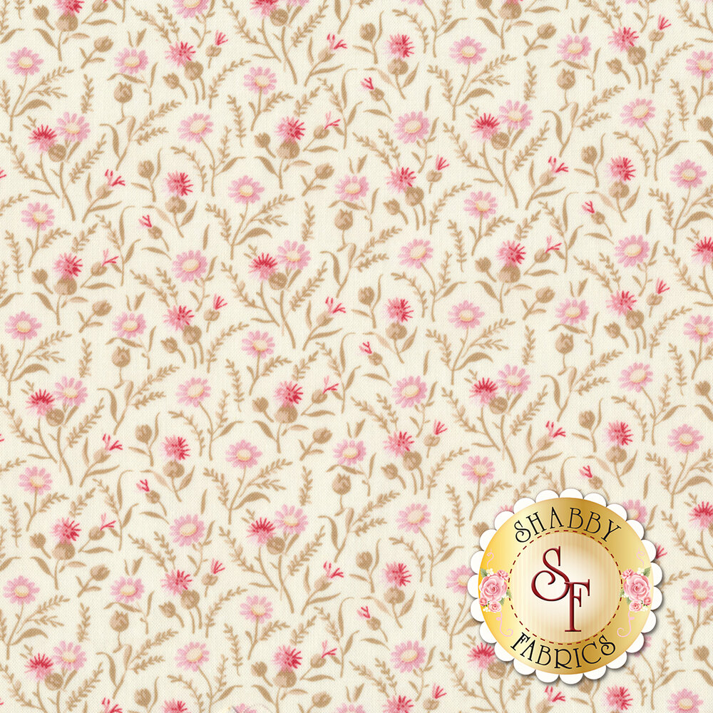Pink flowers with leaves all over ivory | Shabby Fabrics