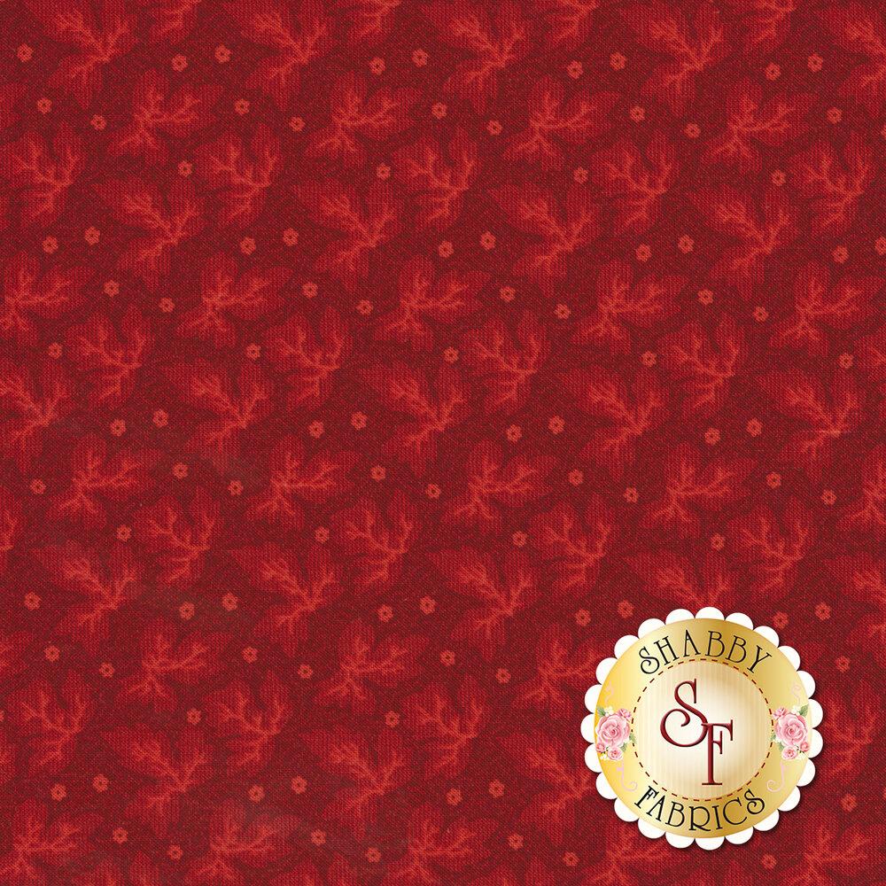 Tonal leaves on red background | Shabby Fabrics