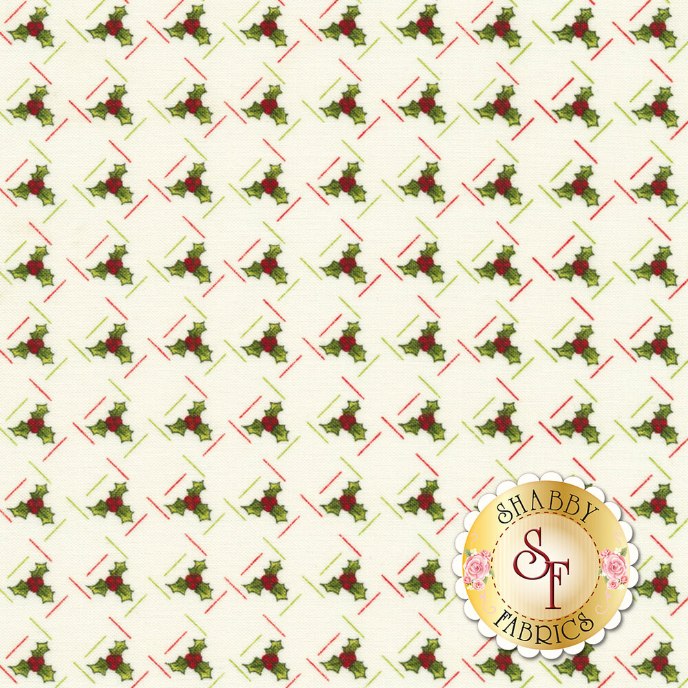 Ring In The Holly Days 2096-40 for Cream by Henry Glass Fabrics