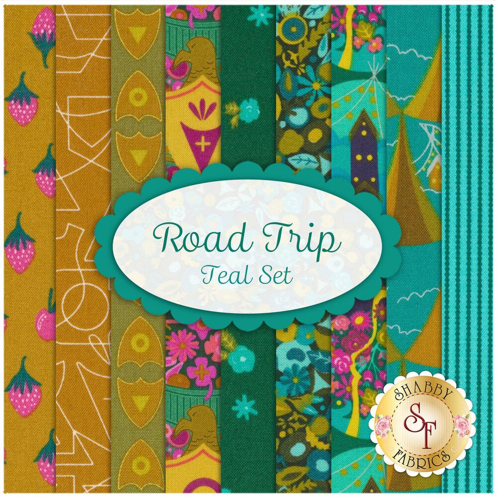 Road Trip 9 FQ Set - Teal Set for Andover Fabrics