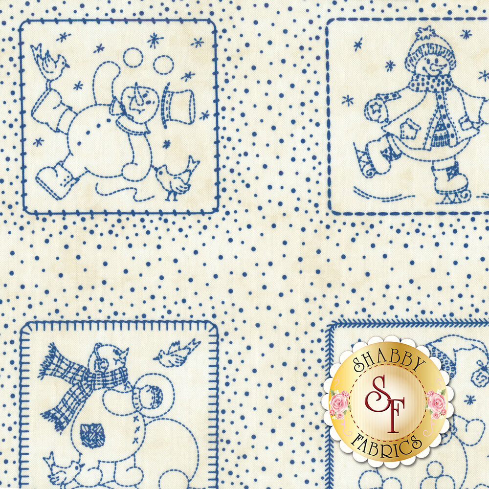 Roly-Poly Snowmen 8411-E for Maywood Studio Fabrics