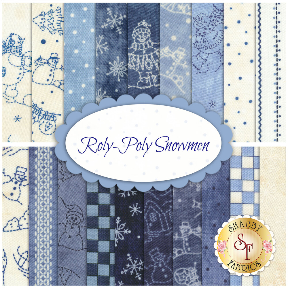 Roly-Poly Snowmen  19 FQ Set for Maywood Studio Fabrics