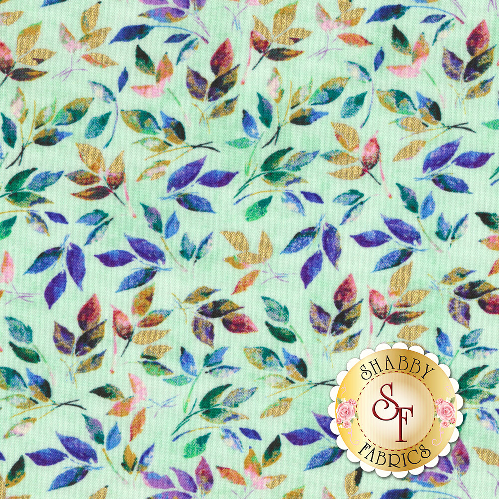 Romance 50215M-5 Mint Golden Leaves by Windham Fabrics REM