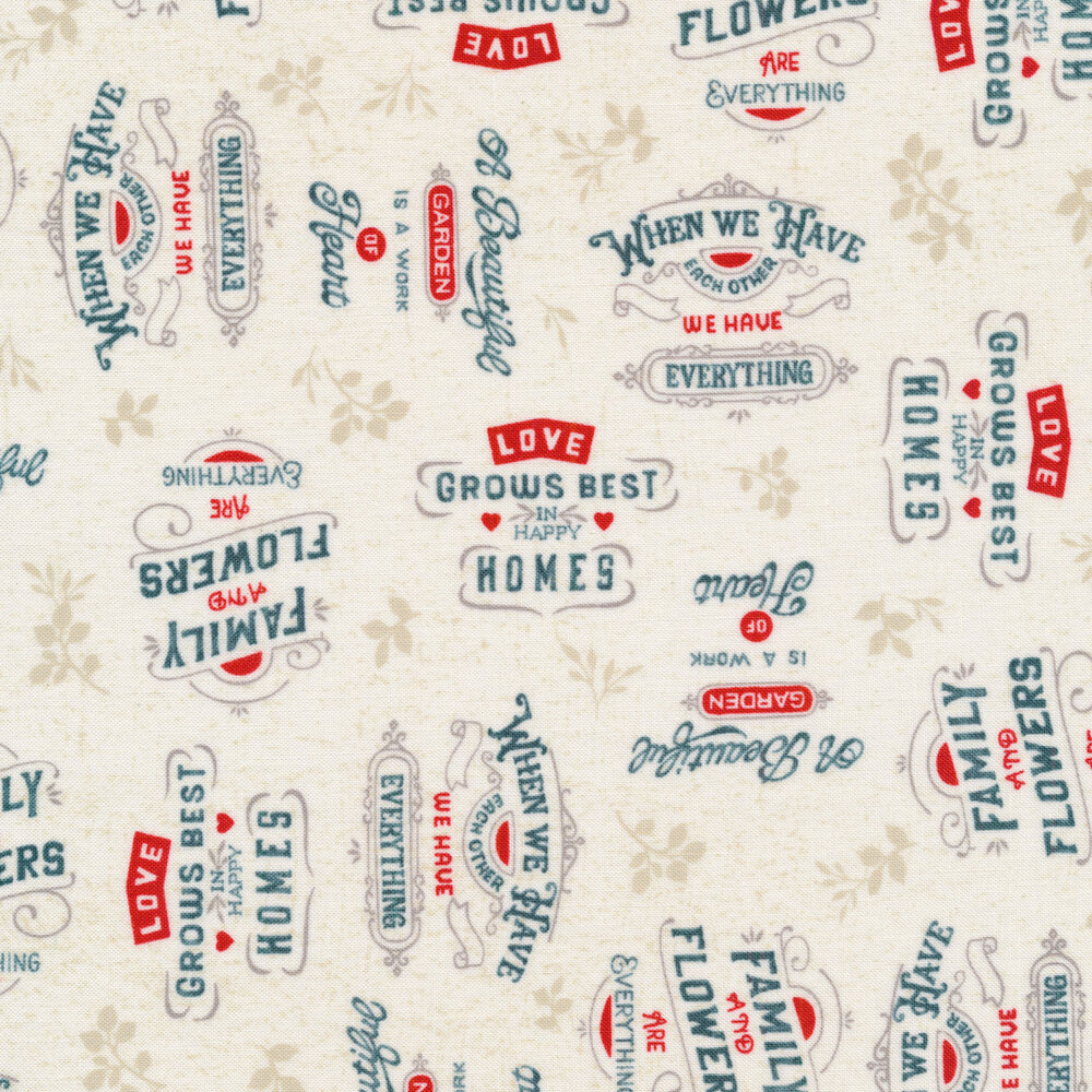 Words all over an ivory background | Shabby Fabrics