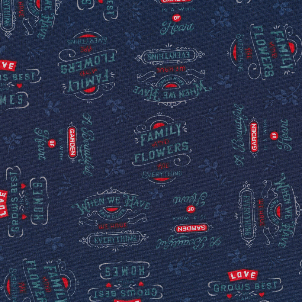 Words all over an navy background | Shabby Fabrics