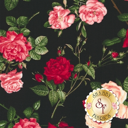 Rose Garden C5814-Black by Timeless Treasures Fabrics