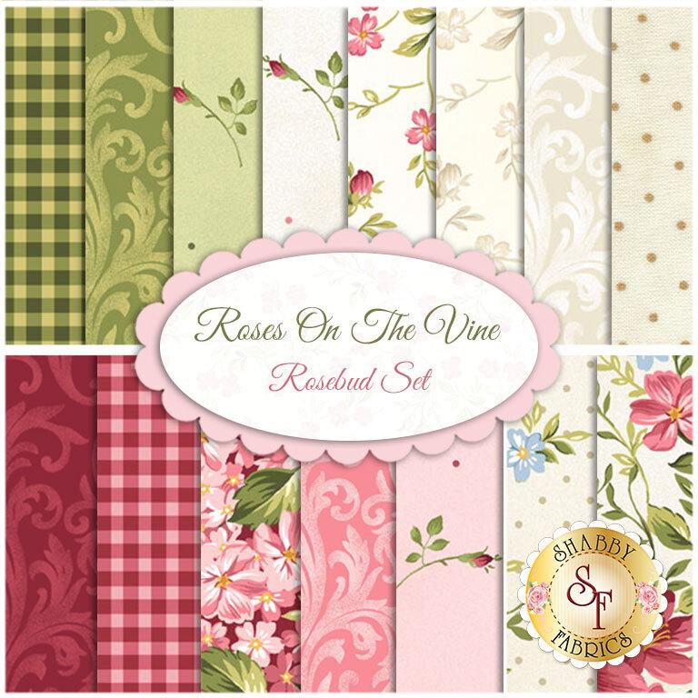 Roses On The Vine  15 FQ Set -  Rosebud Set by Marti Michell for Maywood Studio Fabrics