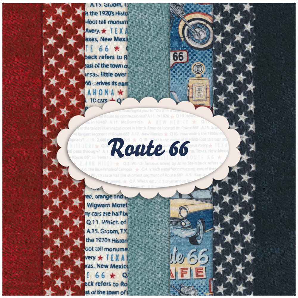 A collage of fabrics included in the Route 66 FQ Set | Shabby Fabrics