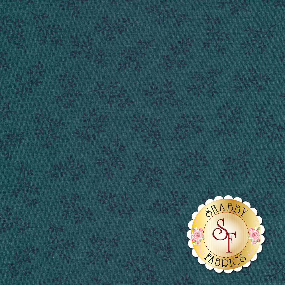 A tonal blue fabric with tossed sprigs all over | Shabby Fabrics