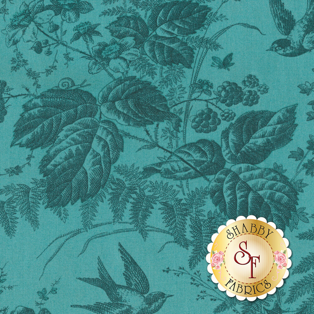 A beautiful blue tonal fabric with snails, bumblebees, and flowers | Shabby Fabrics