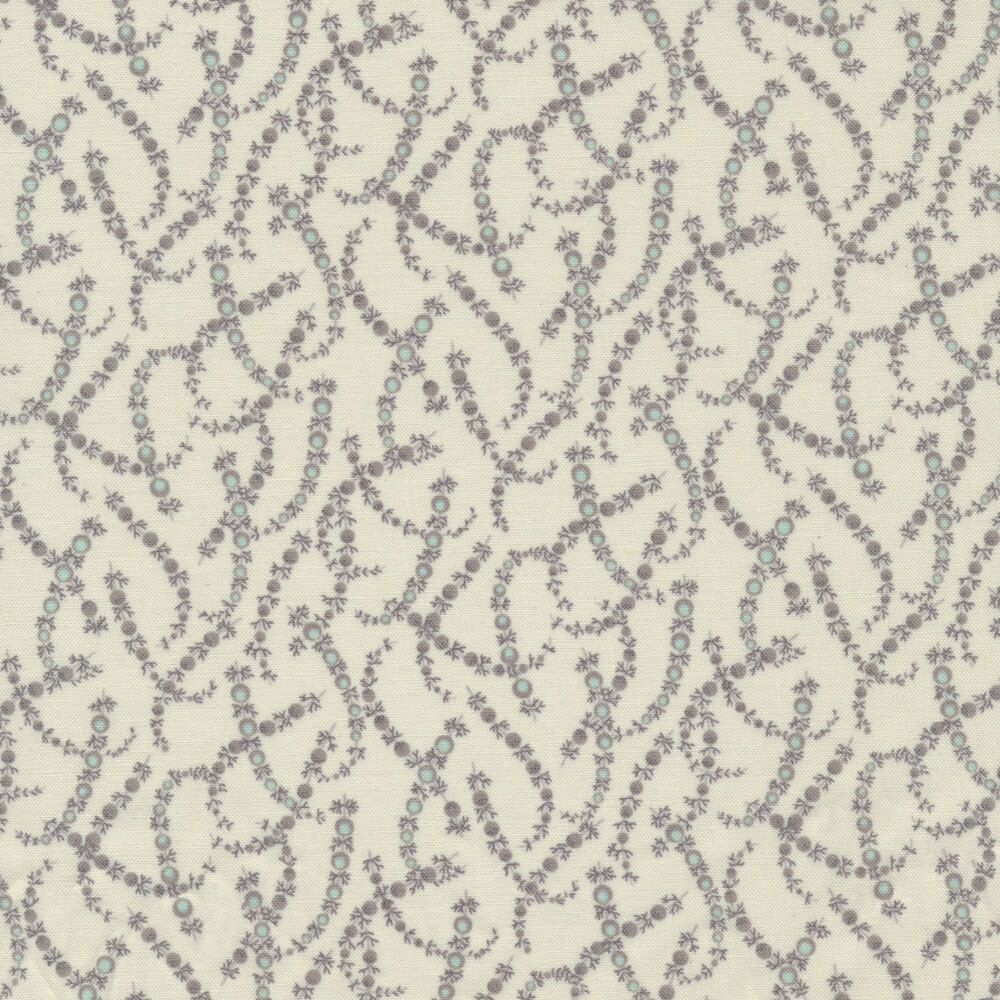 Tonal juniper leaves on a cream background | Shabby Fabrics