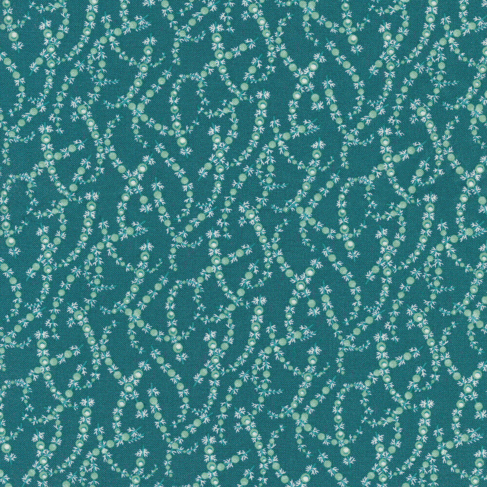 Tonal juniper leaves on a blue background | Shabby Fabrics