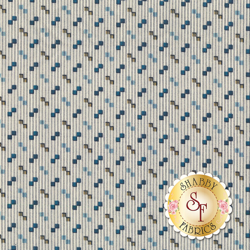 A cream fabric with pin stripes behind tossed geometric shapes | Shabby Fabrics