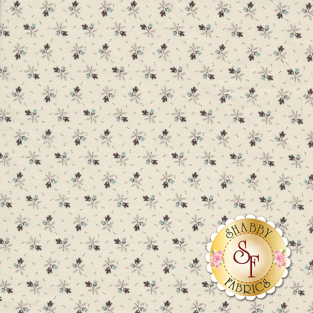 Tossed blue and brown ditsy flowers on cream | Shabby Fabrics