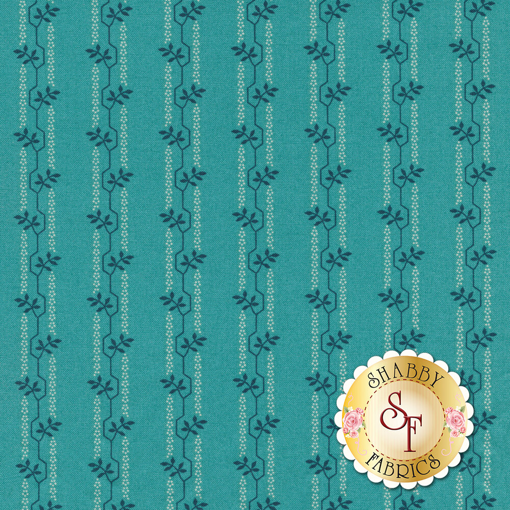 A blue tonal striped fabric with geometric floral vines | Shabby Fabrics