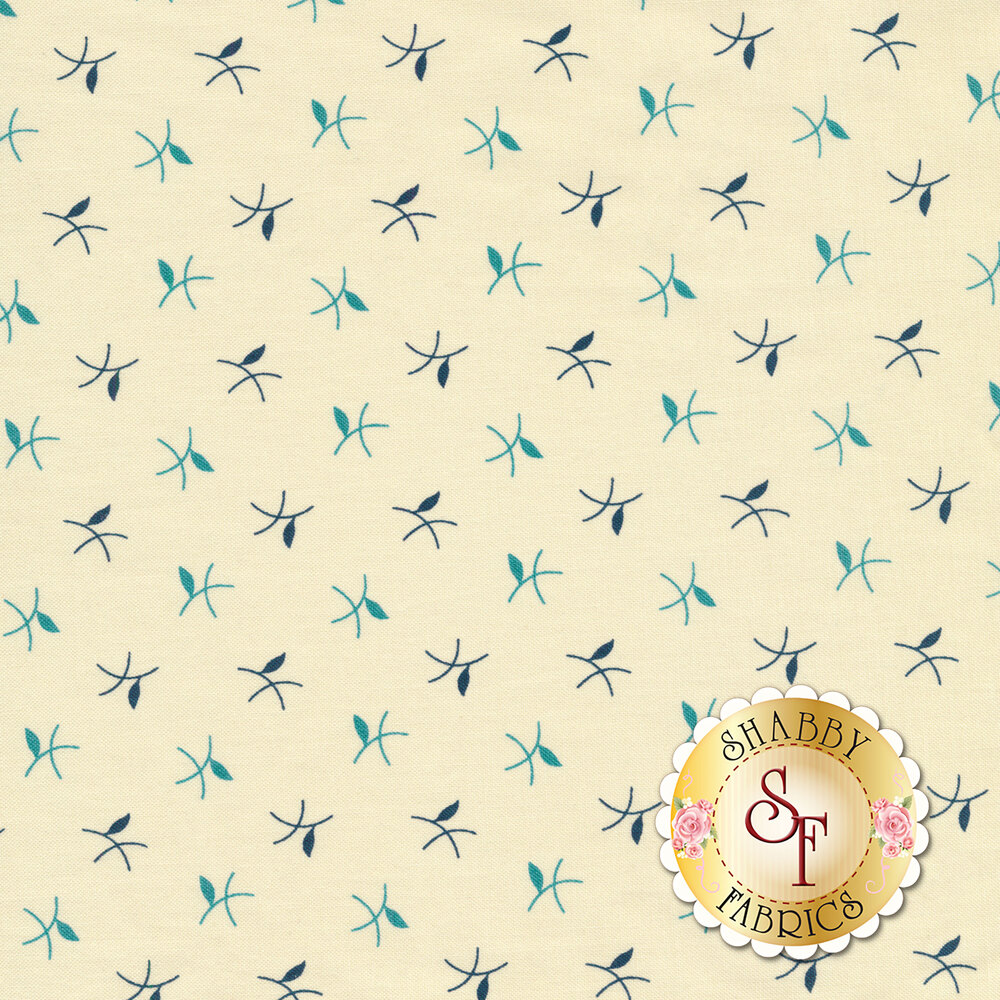 Blue tossed twigs on a cream background | Shabby Fabrics