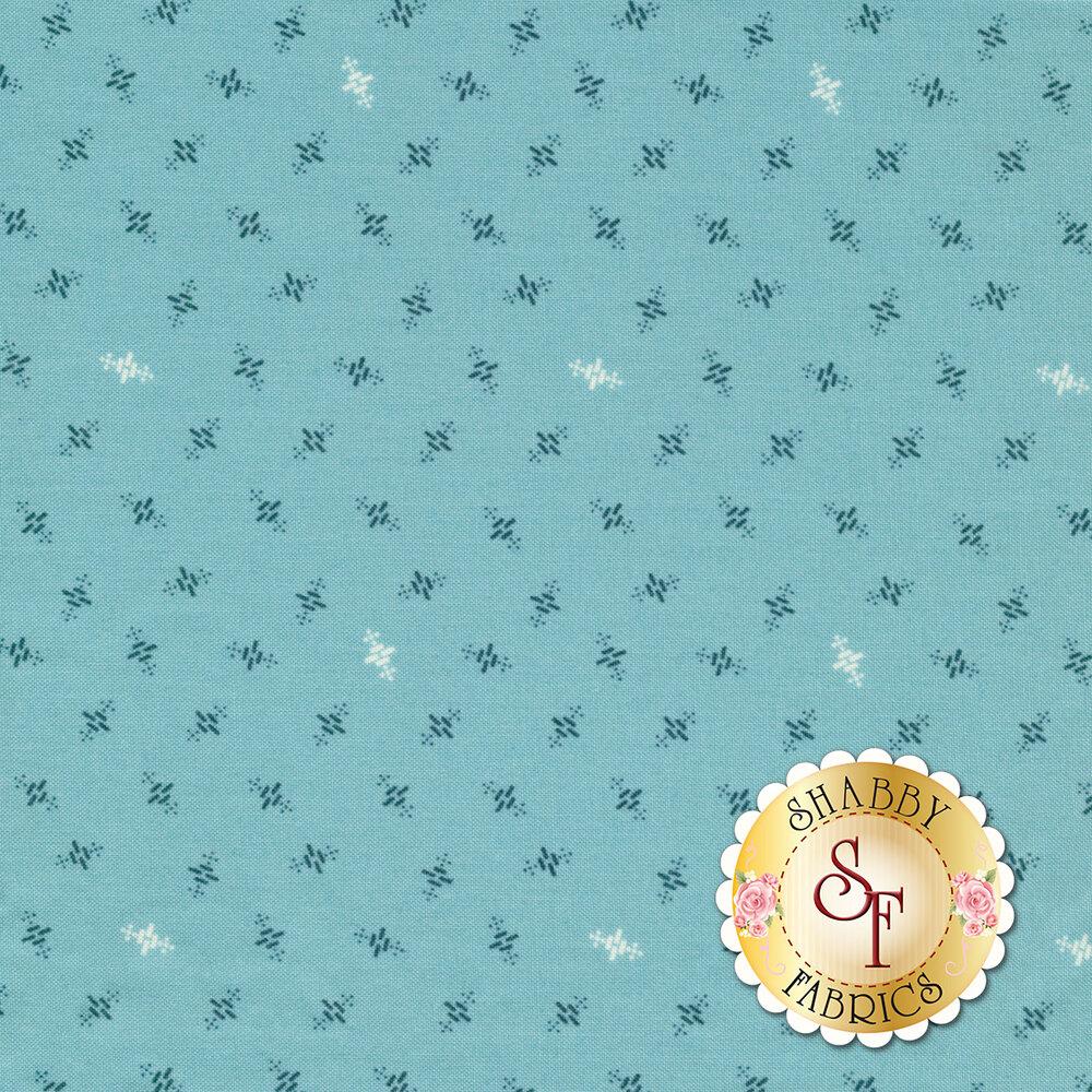 Ditsy heartbeat patterns on a blue background | Shabby Fabrics