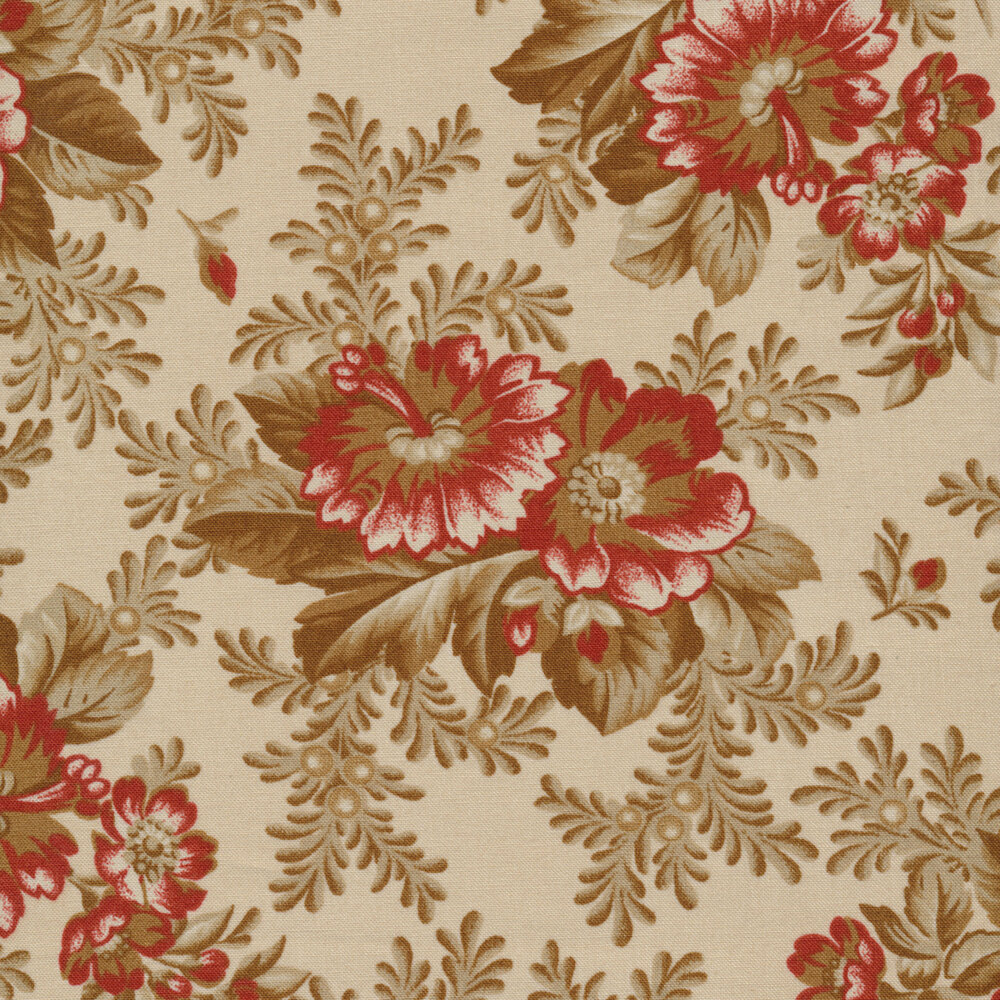 Tossed flowers on a beige background | Shabby Fabrics
