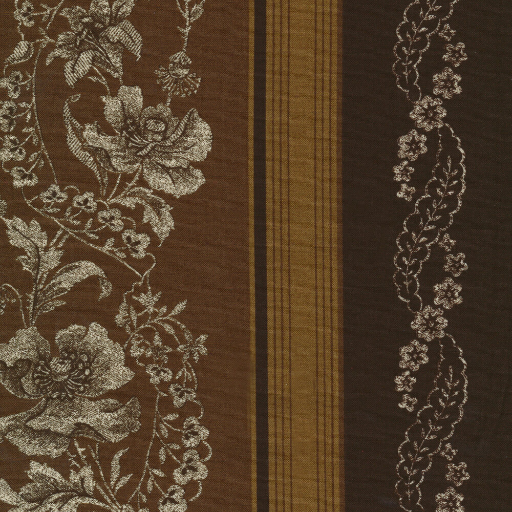 Striped brown and tan floral fabric | Shabby Fabrics
