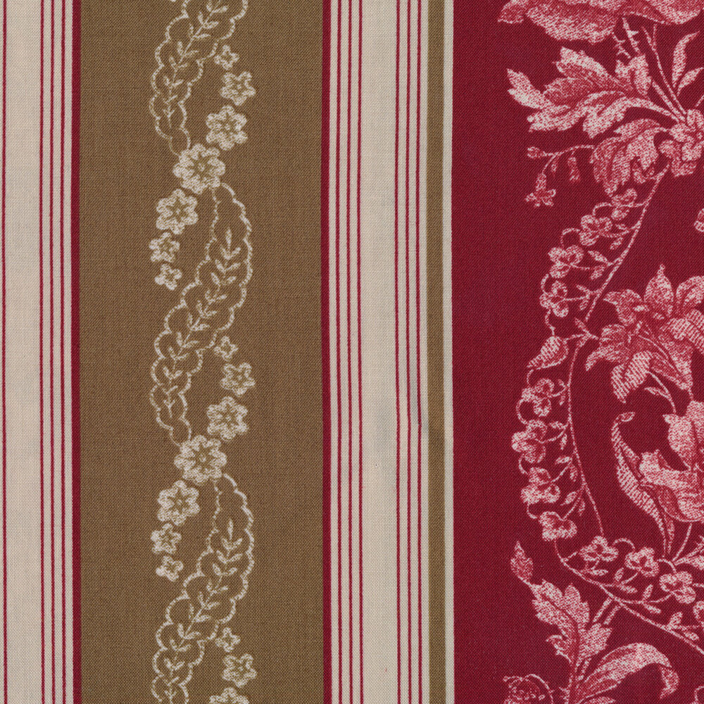 Striped brown and red floral fabric | Shabby Fabrics